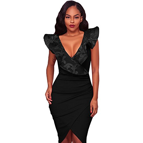 One One Vestire Solido Black Collo Collo Le Colore Step e del di con Irregolari Donne Vestito V Eleganza a BqpOZ