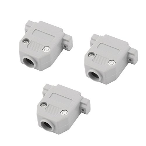 DealMux Plastic DB15 D-Sub Female Connector Hood Cover Case Shell 3pcs Gray ()