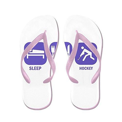 CafePress Sleep Eat Hockey - Flip Flops, Funny Thong Sandals, Beach Sandals Pink