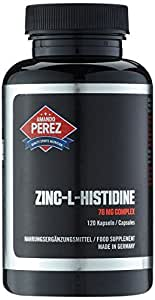 Complejo de Zinc L-Histidina - 75 mg - 25 mg de zinc elemental por cápsula - 120 cápsulas