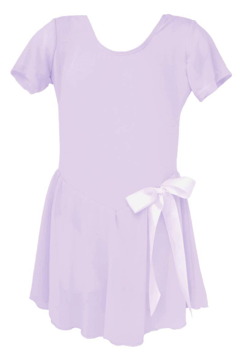 Dancina Girls Skirted Leotard Dress Ballet Dance Short Sleeve Cotton Front Lined 4 Lavender.