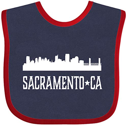 (Inktastic - Sacramento California Skyline CA Cities Baby Bib Navy and Red)