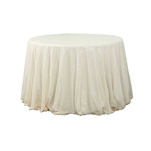 """TRLYC Ivory 72"""" Round Sequin Tablecloth for Wedding Party Ba"""