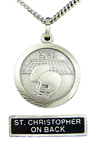 Medal Football Pendant (Nickel Silver Patron Saint Christopher Football Medal Pendant, 7/8 Inch)