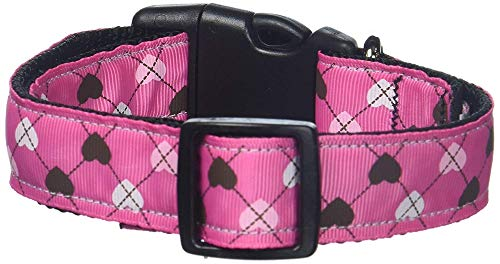 Mirage Pet Products Argyle Hearts Nylon Ribbon Collar for Pets, Medium, Bright Pink from Mirage Pet Products