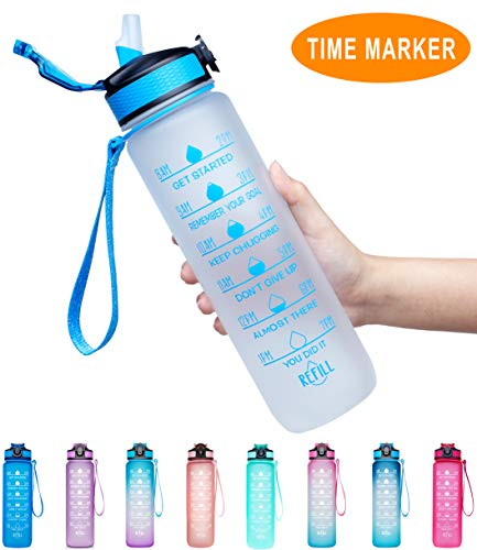 Giotto 32oz Large Leakproof BPA Free Drinking Water Bottle with Time Marker & Straw to Ensure You Drink Enough Water Throughout The Day for Fitness and Outdoor Enthusiasts-White-Blue