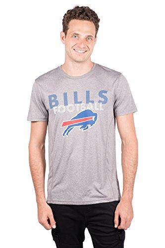 NFL Buffalo Bills Men's T-Shirt Athletic Quick Dry Active Tee Shirt, Small, Gray (Football Bills T-shirt)