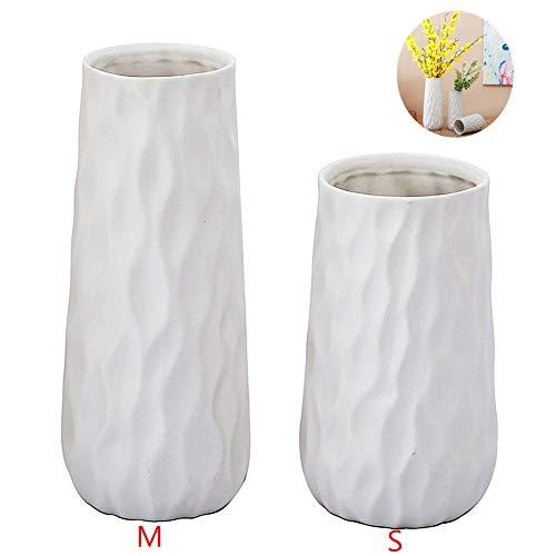 Anding White Ceramic Vase - Wavy Design Matte Surface - Modern Vase - Bottle Set 2 - Ideal Gift Vase for Friends, Family, Wedding, Table Vase, Perfect Home Decor Vase - Gift Perfect Vase