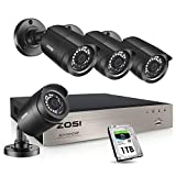 ZOSI Security Cameras System 8Channel 4-in-1 1080N CCTV DVR Recorder with 1TB Hard Drive and (4) x1080P 1920TVL HD Weatherproof Surveillance Cameras with Night Vision, Motion Alert,PC Remote Access