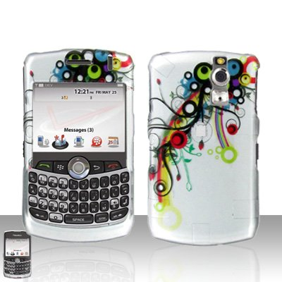(Green Blue Red Circle Vine Flower Design Snap on Hard Cover Protector Faceplate Skin Case for Blackberry Curve 8300 8310 8320 8330 + Belt Clip )