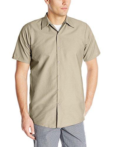 Red Kap Men's Specialized Pocketless Work Shirt, Light Tan, Short Sleeve Large