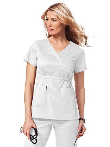 KOI Women's Katelyn Easy-fit Mock-wrap Scrub Top with Adjustable Side Tie, White, X-Small