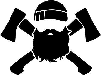 Beard lumberjack. Axe man vinyl decal