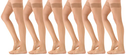 Opaque Nylon - Womens Thigh High Stockings, Sheer Fashion Socks, Opaque Over The Knee Sheer Sexy Long Sock (Beige, 6)