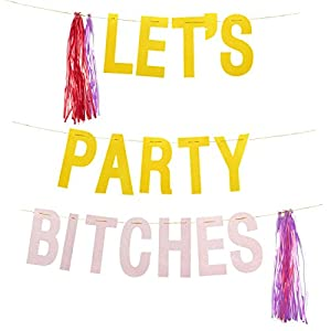 """Bachelorette Party Banner, """"Let's Party, B*tches"""" Hanging Decoration for Bridal Shower, Hen Party, Engagement Party Supplies, Gold and Pink, 10 Feet"""