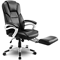 High Back Leather Executive Swivel Office Chair with Footrest Black