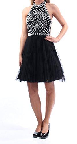 Skirt Halter Pleats (Xscape Women's Short Bead Halter with Pleat Tulle Skirt, Black/White, 2)