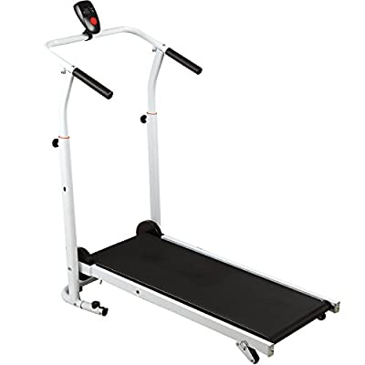 Fitnessclub Folding Manual Treadmill Incline Home GYM Maching Cardio Stride Fitness Walking Workouts with Twin Flywheels No Monitor Required