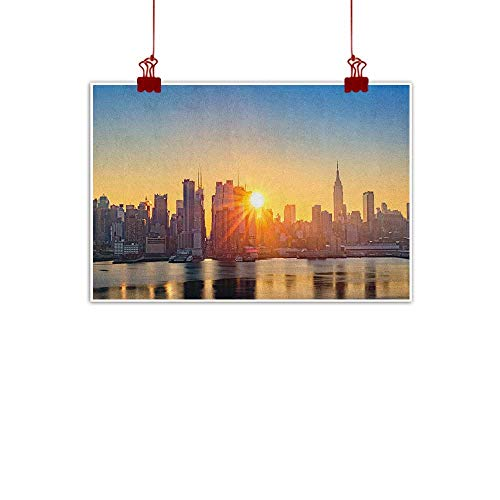 warmfamily Simple Life Minimalist City,Tranquil Sunrise at Midtown Manhattan United States NYC Waterfront America, Pale Blue Peach Tan 28