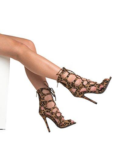 Breckelles Femmes Peep Toe Lace Up Gladiator Cage Découper Stiletto Talon Pompe Sandale Léopard