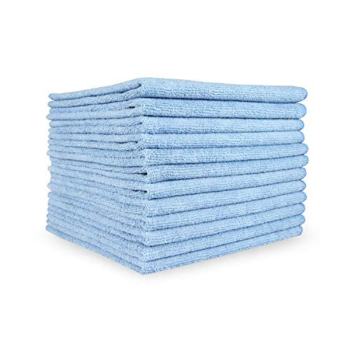Smart Choice Microfiber Cleaning Cloths 12 Pack (16 x 16 in, Blue)