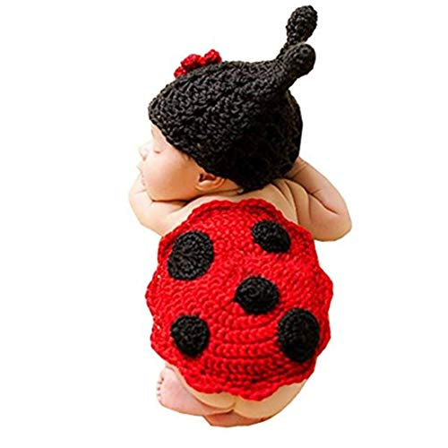 Fashion Newborn Baby Photography Props Boy Girls Photo Shoot Props Outfits Crochet Knitted Costume Unisex Cute Infant Hat Pants Set (Beetle) ()