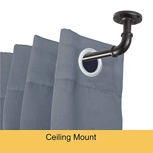 "Kenney Adler Indoor/Outdoor Rust-Resistant Wrap Around Curtain Rod, 28-48"", Black"