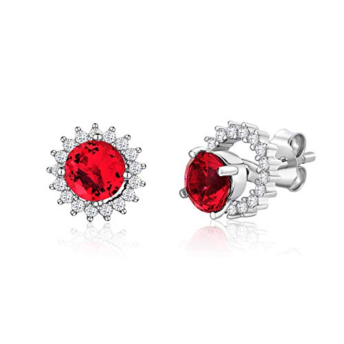 (MASSETE Sterling Silver 925 Simulated Ruby Halo Stud Post Earrings with Removeable)