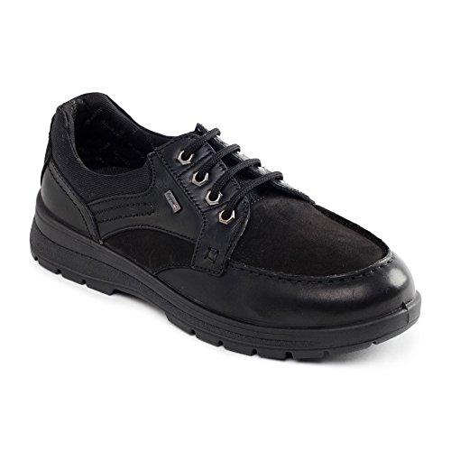 Padders uomini scarpe in pelle impermeabile Way | con sistema di regolazione a doppia larghezza | grande larghezza di extra di GH | calzascarpe libero Nero / Combi