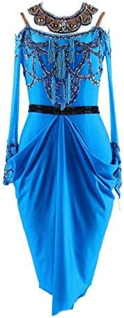 garuda★サイズメイド セミオーダー高級ドレス レディース社交ダンス衣装競技ワンピース ラテンドレス モダンブルー ブルー セミオーダー