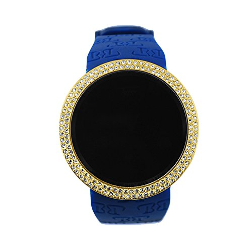 Techno Pave Iced Out Bling Lab Created Gold Blue Digital Touch Screen Sports Smart Watch Silicone ()