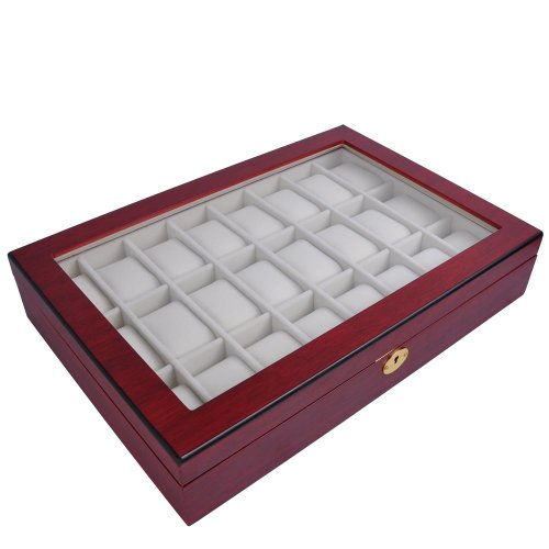Premium 24 Slot Rosewood Glass Top Wooden Watch Display Case Box