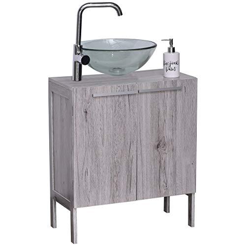 EVIDECO 9900626 Non Pedestal Under Sink Storage Vanity Cabinet Oslo Gray Oak, 23 3/4