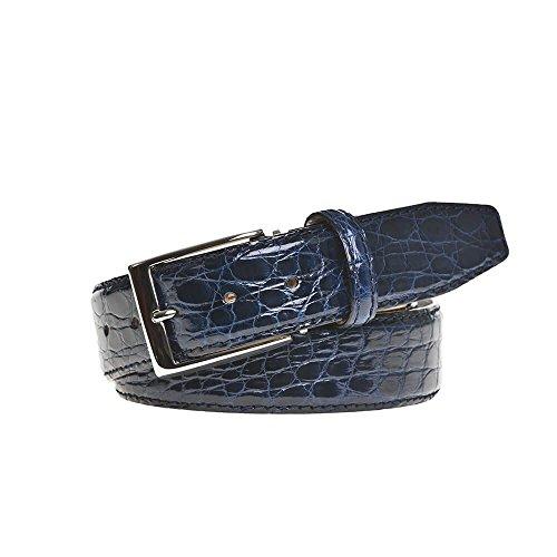 Navy Crocodile Leather Belt by Roger Ximenez: Bespoke Maker of Fine Leather Goods