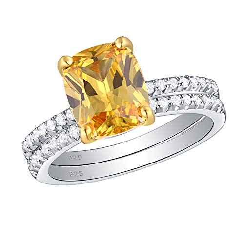 Wuziwen 4Ct Sterling Silver Yellow Citrine Engagement Ring Wedding Set for Women Cushion Cut Size 7