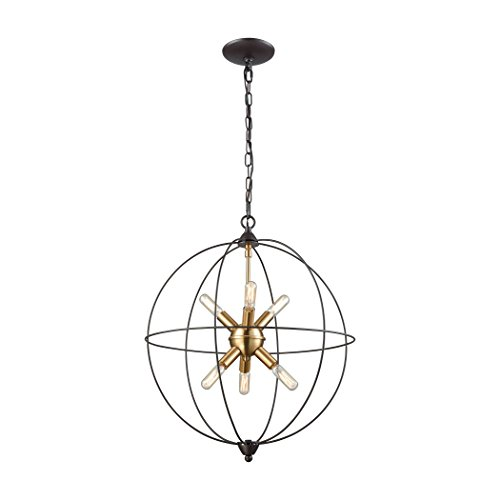 Elk Lighting 14511/6 Loftin - Six Light Chandelier, Oil Rubbed Bronze/Satin Brass Finish - Bronze Satin Chandelier