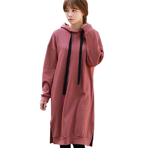 Sinzelimin Winter Autumn Womens Long Sleeve Hooded Loose Casual Warm Hoodies Sweatshirt Dress Long Blouse (red, M) by Sinzelimin