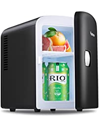 INTEY Portable Car Refrigerator Mini Fridge Cooler&Warmer 4 L/6 Cans, 110V&12V Power for Home, Office and Car