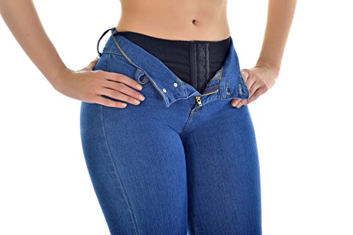"""Curvify Butt Lifting Wonder Jean with Secret Internal Waist Cincher (11 for 43"""" to 45"""" hips, MidBlue) from Curvify"""