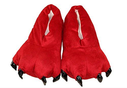 Zapatos Animal-LATH.PIN- Zapatillas de Felpa Unixeso para Halloween Carnaval Cosplay La Pata de Las Garras Rojo