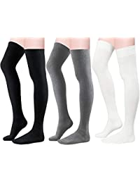faeea204028 Women Over Knee Thigh High Socks Plus Size Tube Leg Warmers Stocking Cotton  Cosplay Long Solid