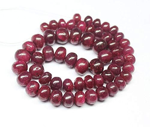 Beads Bazar Natural Beautiful jewellery Blood Red Ruby Smooth Rondelle Gemstone Loose Craft Beads Strand 14