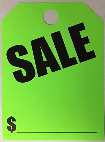 - Sales Signs 50 Per Pack Hang on Rear View Mirror(Fluorescent Green)(A34)