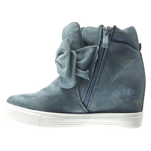 Angkorly Damen Schuhe Sneaker Keilabsatz - Plateauschuhe - Fliege Keilabsatz 7.5 cm Blau