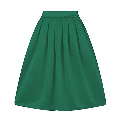 Taydey A-Line Pleated Vintage Skirts for Women (XL, Z-Green) ()