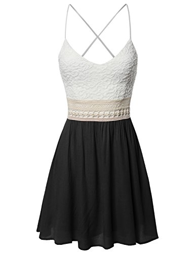 Awesome21 Sleeveless Spaghetti Strap Lace Detail Baby Doll Dress - Made In USA Black L (Back Strappy Dress)