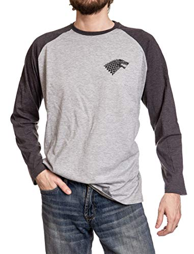 Game of Thrones Men's House Sigil Raglan Shirt (Large, King in The North) (The King In The North Game Of Thrones)