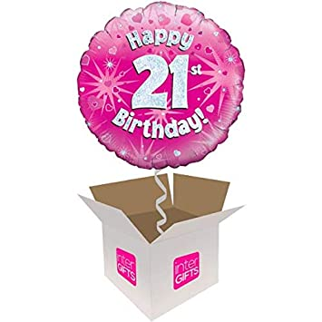 InterBalloon Helium Inflated Happy 21st Birthday Pink Holographic Balloon Delivered In A Box