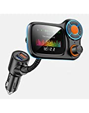 """Bluetooth 5.0 Car FM Transmitter with 1.77"""" TFT Color Screen, Wireless in-Car FM Radio Adapter with QC3.0/2.4A USB Ports & 7 EQ Modes for HiFi Music & Navigation, Great Bluetooth Hands-Free Car Kit"""