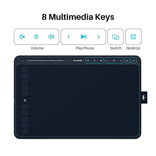 2020 Huion HS611 Graphics Drawing Tablet Android Supported Pen Tablet Tilt Function Battery-Free Stylus 8192 Pen Pressure with 8 Multimedia Keys 10 Express Keys and Touch Strip(Starry Blue)